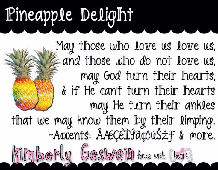 Pineapple Delight Font fruit food