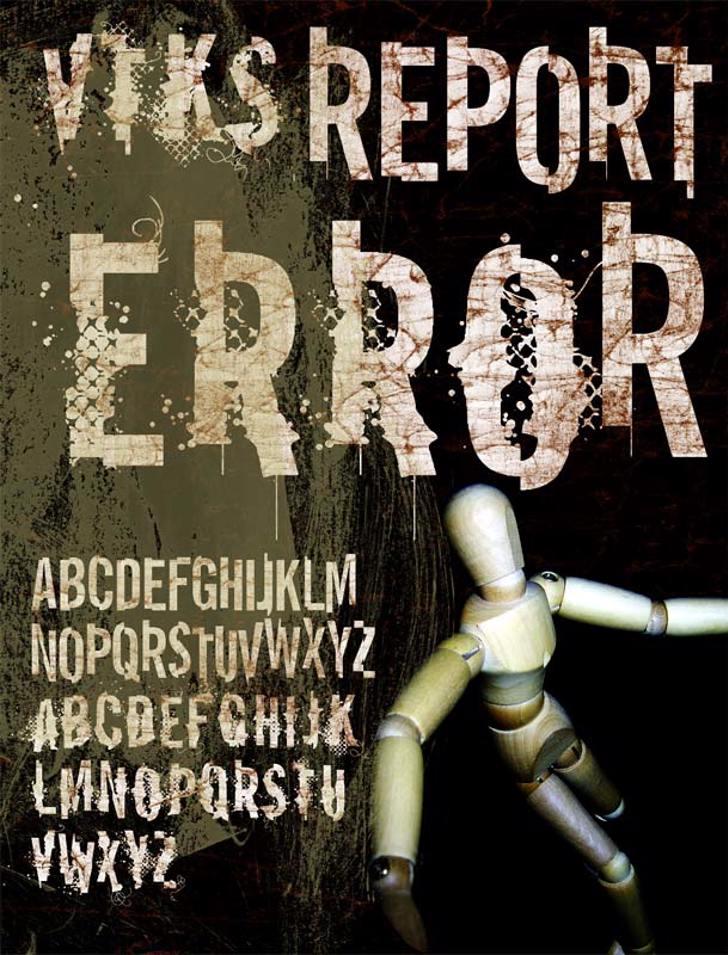 vtks REPORT erRoR Font cartoon poster