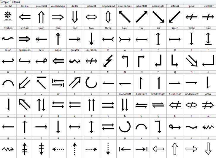 Symbols Font design parallel