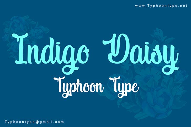 Indigo Daisy Font text design