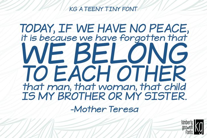 KG A Teeny Tiny Font design text