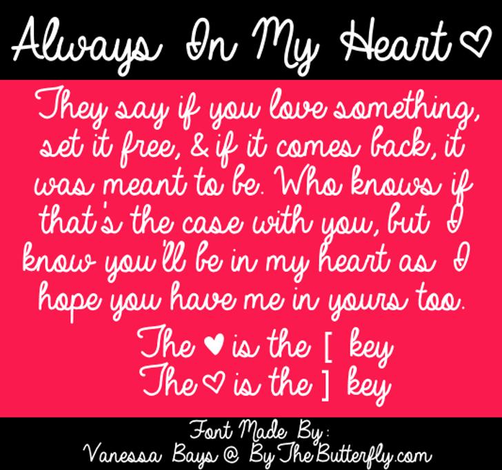 Always In My Heart Font text screenshot