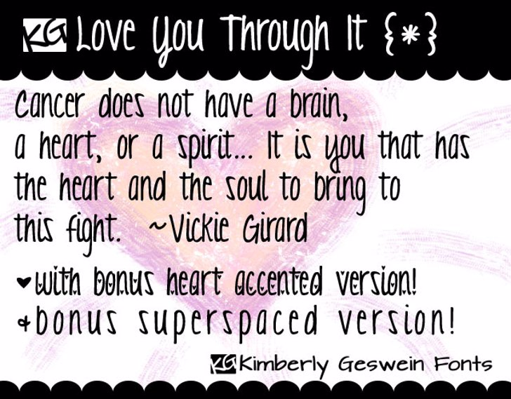 KG Love You Through It Font text screenshot