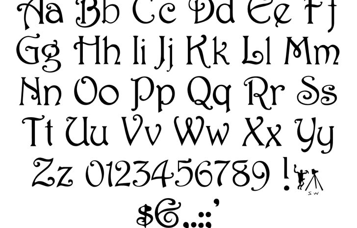 Harrington (Plain):001.001 Font Letters Charmap