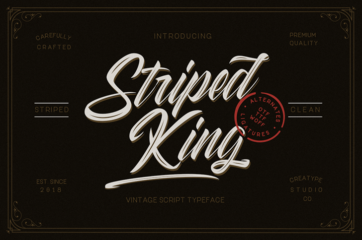 Striped King Clean Font design typography