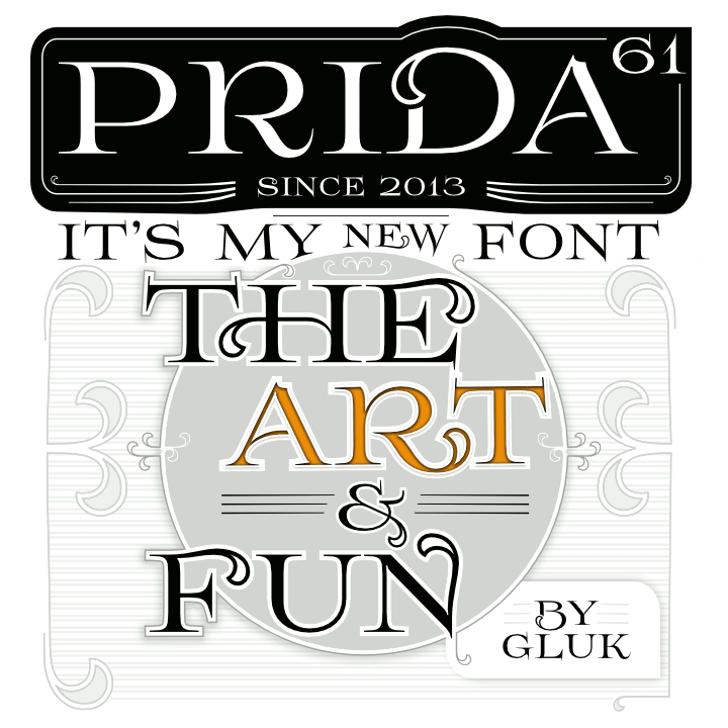 Prida61 Font text design