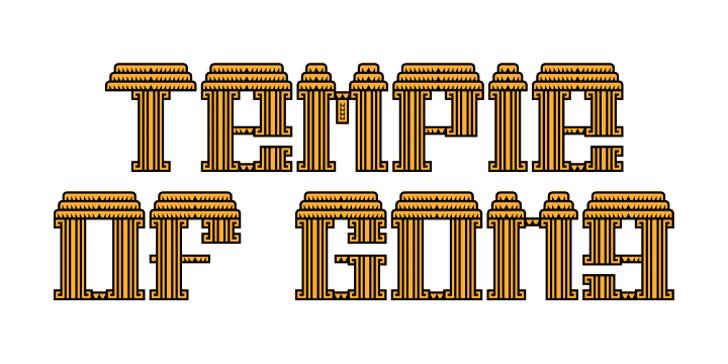 Temple of Gong Font illustration design