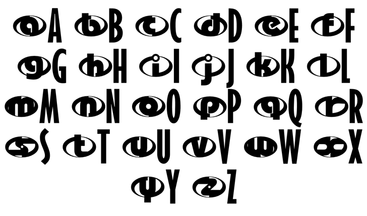 the Incredibles Font Letters Charmap