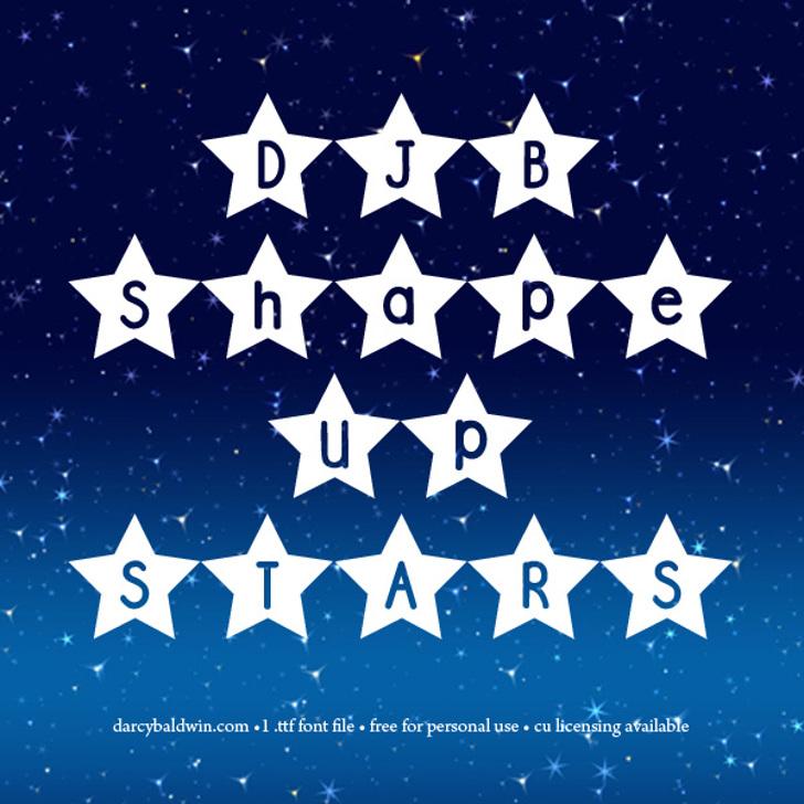 DJB Shape Up Stars Font flag illustration
