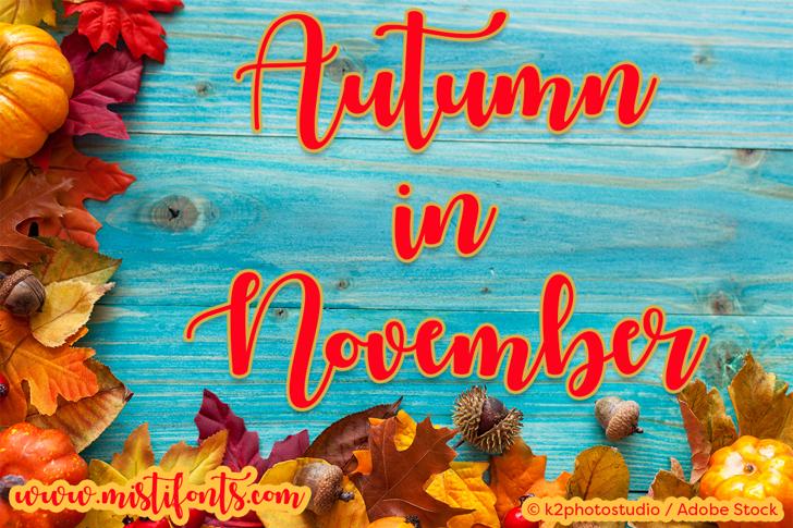 Autumn in November Font text book