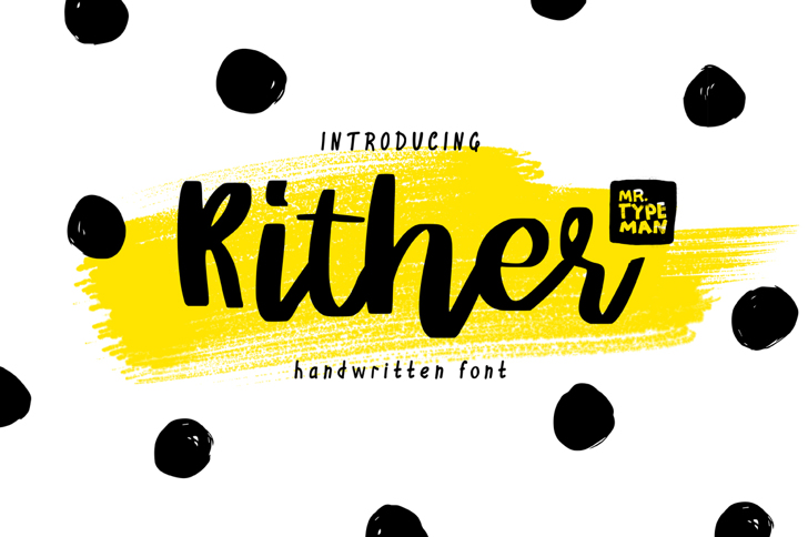 Rither Font design cartoon