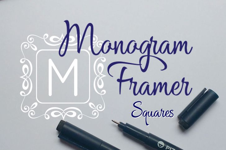 Square Monogram Frames Font handwriting design