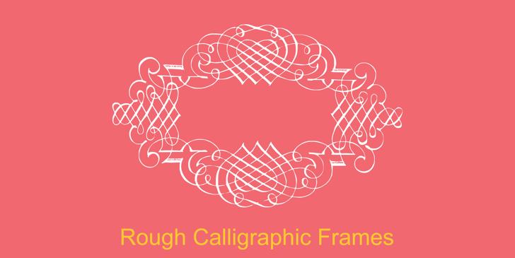 Rough Calligraphic Frames Font design illustration