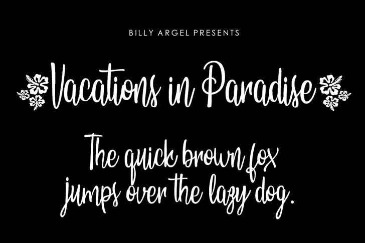 Vacations in Paradise Personal  Font text design