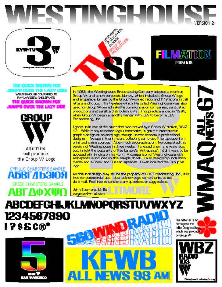 Westinghouse Font poster text