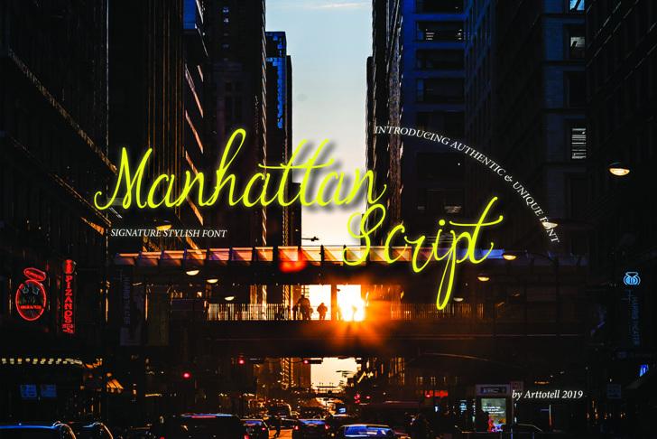 Manhattan Script Font skyscraper sky