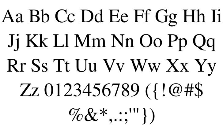 Free Serif Font Letters Charmap