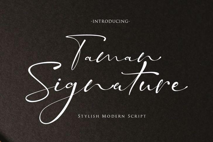Taman Signature Font poster
