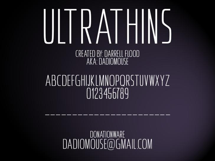 Ultrathins Font design screenshot