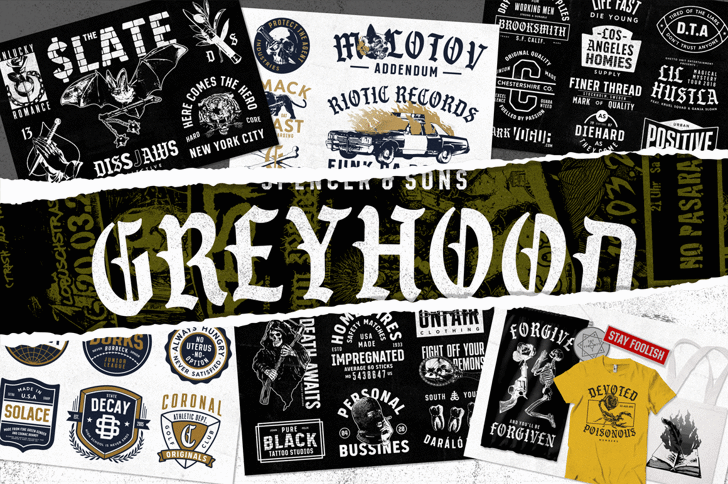 S&S GreyHood Seven Font text poster