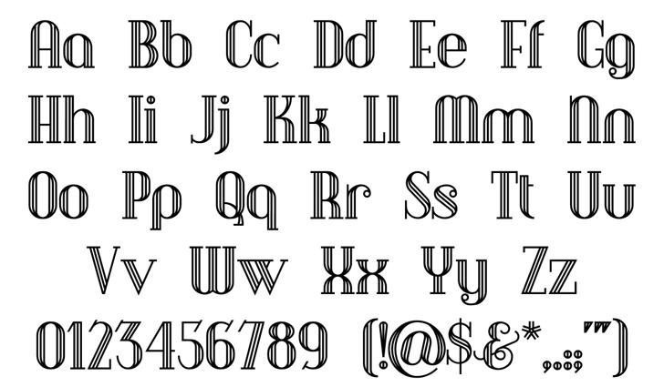 DebonairInline Font Letters Charmap