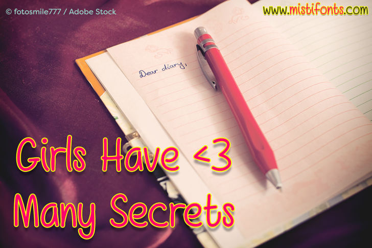 Girls Have Many Secrets Font text book