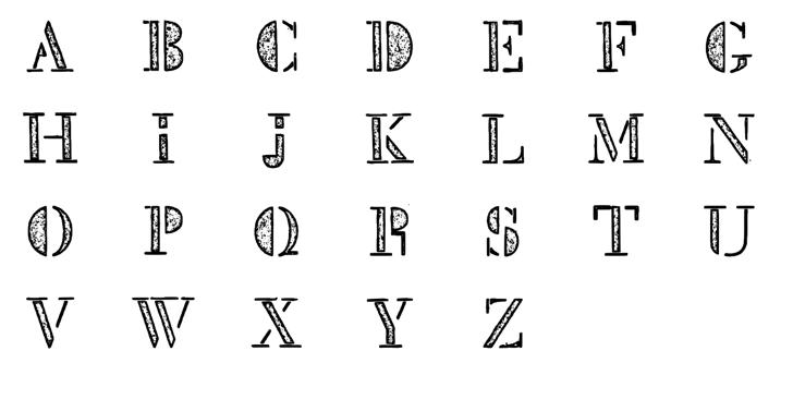 Mck Stencil Xray Font design illustration