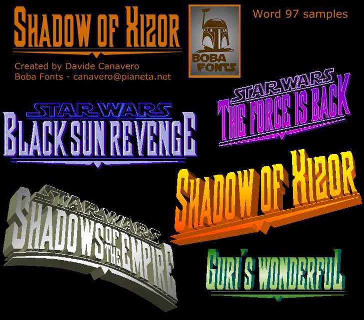 Shadow of Xizor Font book text