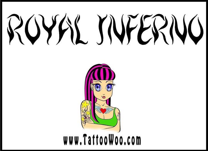Royal Inferno Font drawing sketch