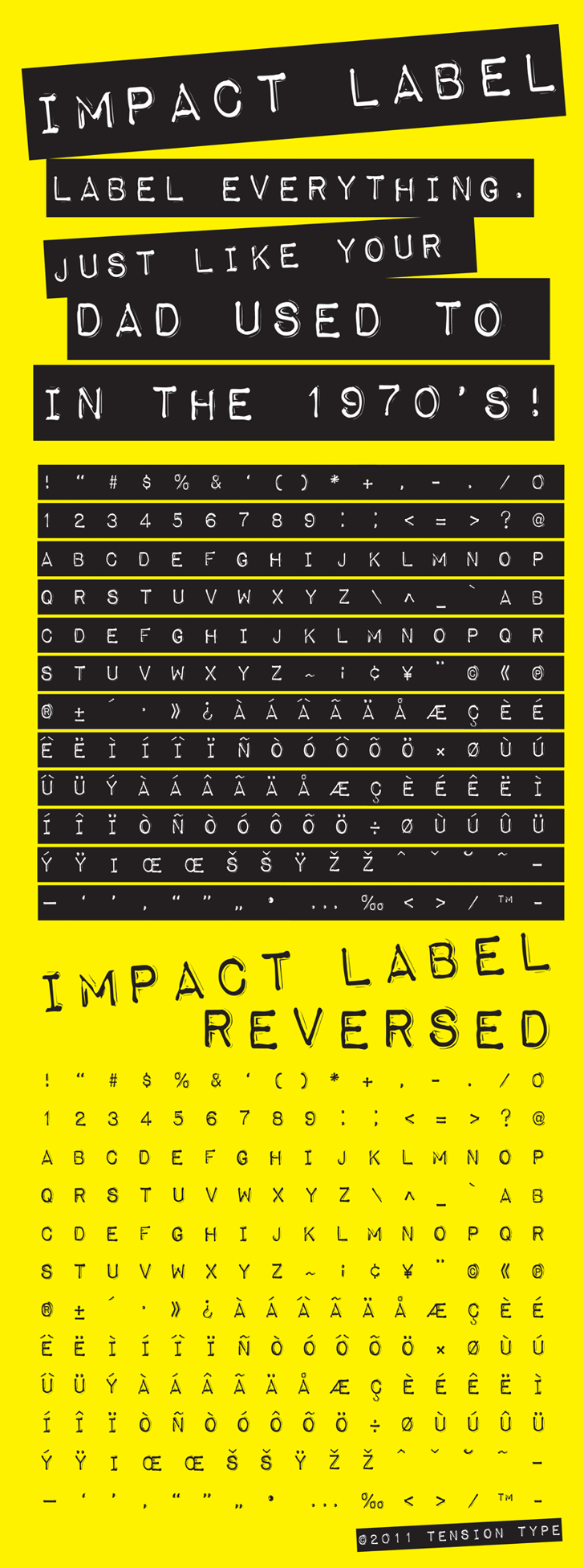 Impact Label Font screenshot design