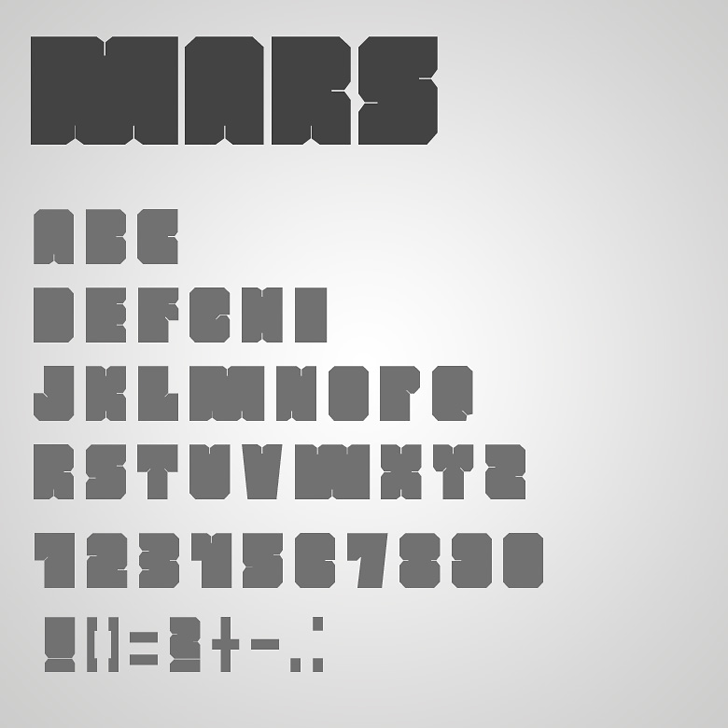 MARS Font design screenshot