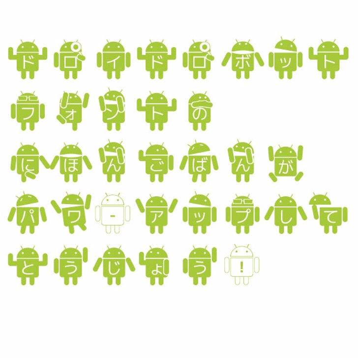 Droid Robot Japanese Font cartoon illustration
