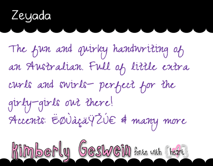 Zeyada Font handwriting letter