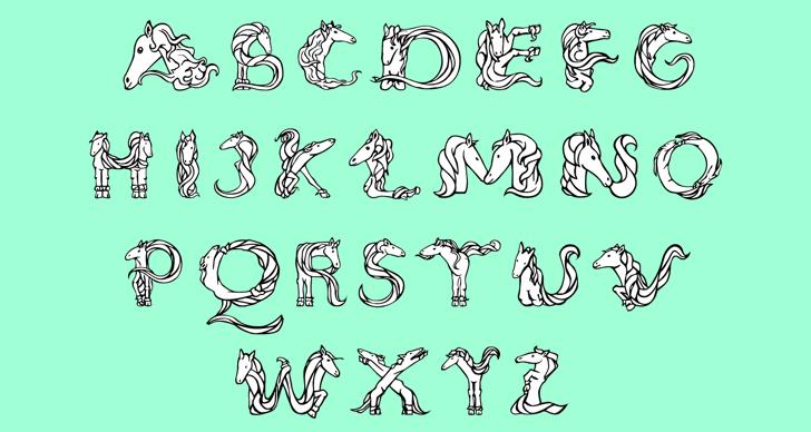 Magical Unicorn Font cartoon drawing