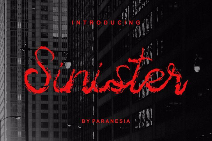 Sinister Brush Font screenshot design