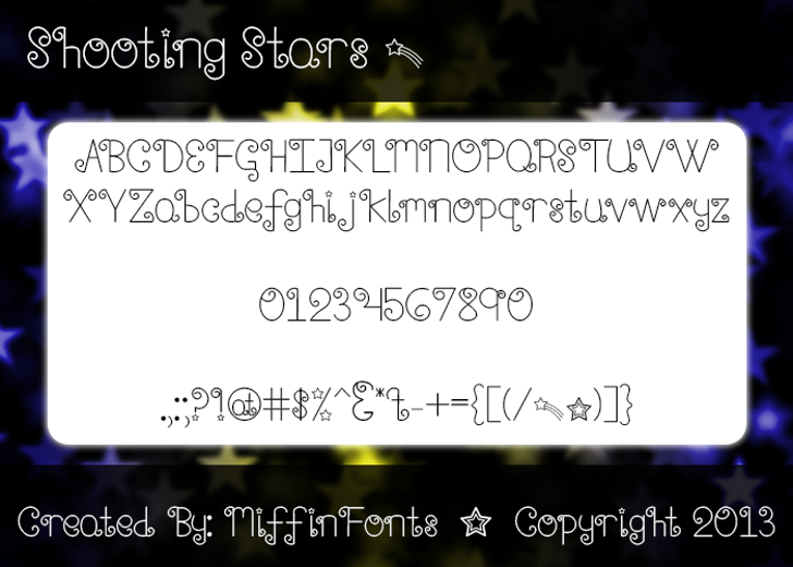 Shooting Stars Font text screenshot