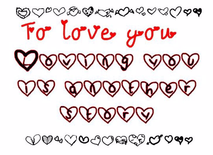 To love you. Font handwriting font