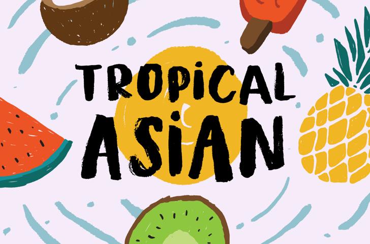 Tropical Asian DEMO Font cartoon design