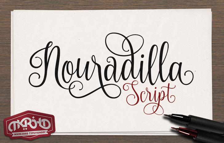 Nouradilla Font handwriting drawing