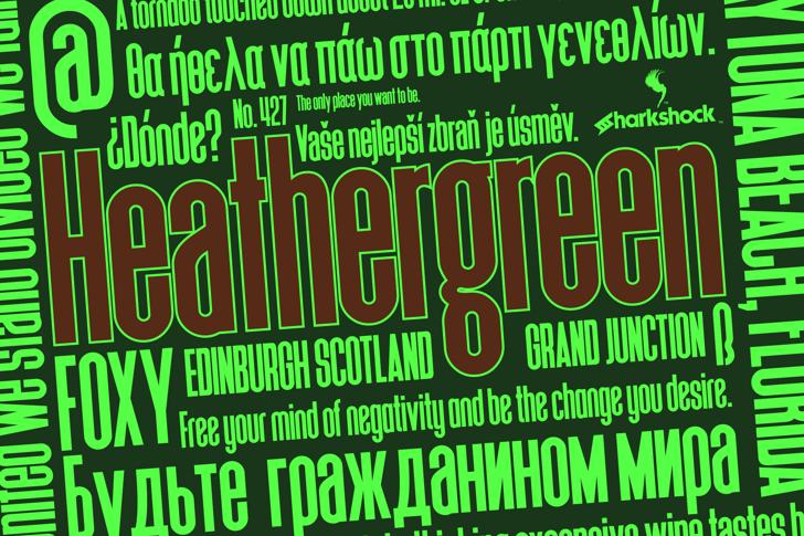 Heathergreen Font text poster