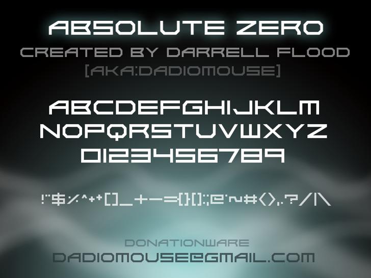 Absolute Zero Font screenshot text