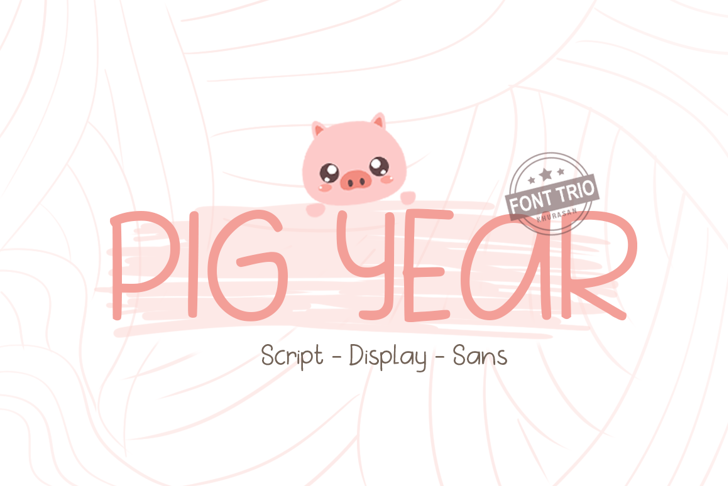 Pig Year Sans Font cartoon