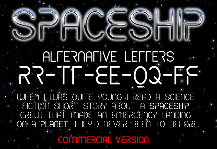 CF Spaceship Font screenshot text