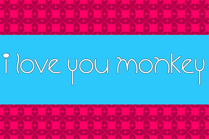 I Love You Monkey Font screenshot design