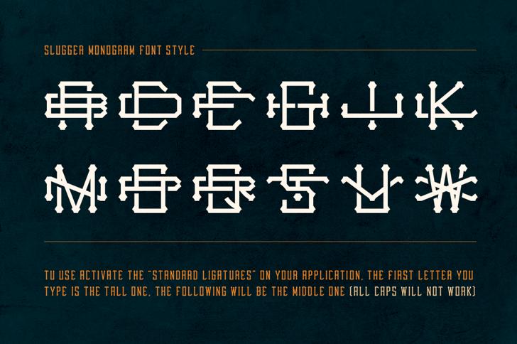 Slugger Monogram Font style