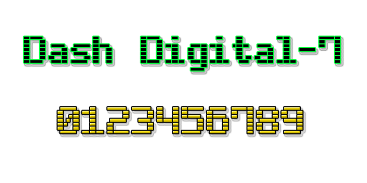 Dash Digital-7 Font design screenshot