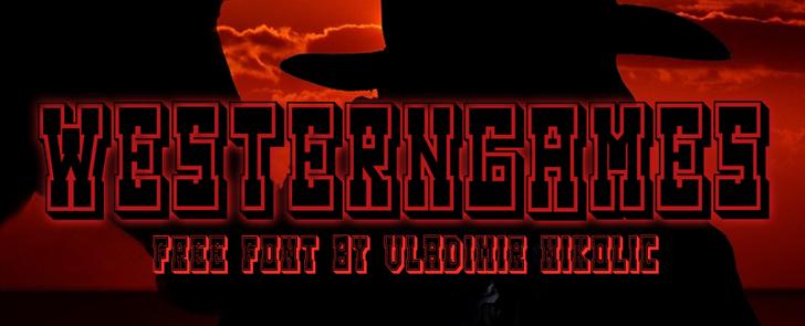 Westerngames Font poster cartoon