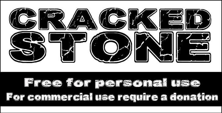 CF Cracked Stone Font design cartoon