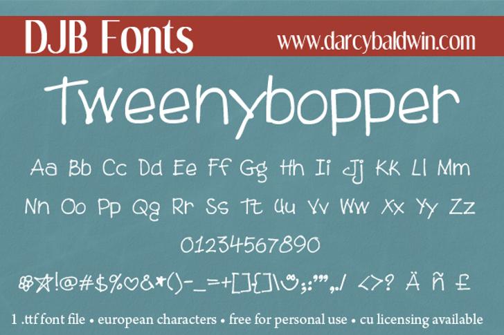 DJB Tweenybopper Font text blackboard