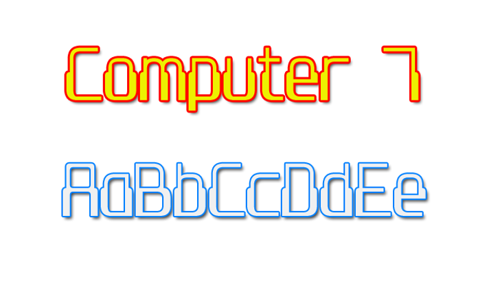 Computer 7 Font design graphic